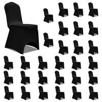 vidaXL Huse de scaun elastice, 30 buc., negru