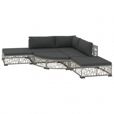 vidaXL Set mobilier de grădină cu perne, 6 piese, gri, poliratan