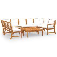 vidaXL Set mobilier de grădină cu perne crem, 9 piese, lemn de acacia