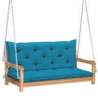 vidaXL Balansoar cu pernă albastru deschis, 120 cm lemn masiv tec