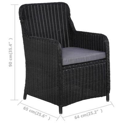 vidaXL Set mobilier de grădină, 7 piese, negru