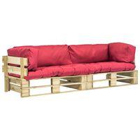 vidaXL Set canapea grădină paleți cu perne roșii, 2 piese, lemn pin