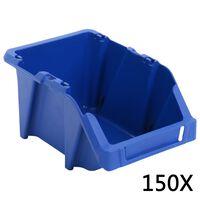vidaXL Cutii depozitare, 150 buc, 125 x 195 x 90 mm, albastru