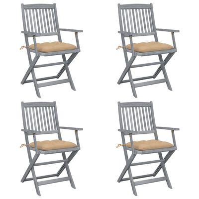 vidaXL Scaune pliabile de exterior, cu perne, 4 buc., lemn masiv de acacia