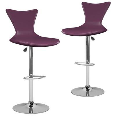 vidaXL Scaune de bar, 2 buc., violet, piele ecologică