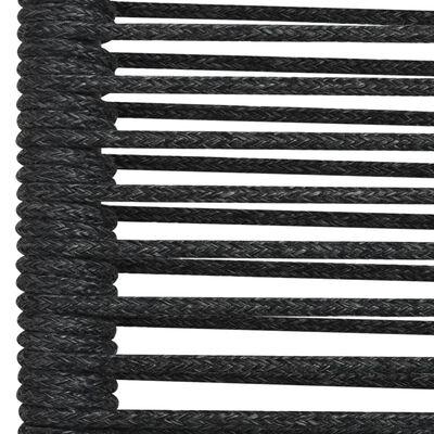 vidaXL Set mobilier de exterior, 9 piese, negru, frânghie și oțel