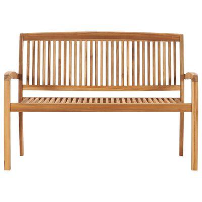 vidaXL Bancă de grădină stivuibilă cu pernă, 128,5 cm, lemn masiv tec