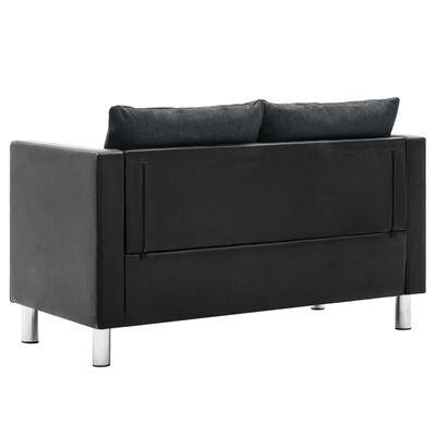 vidaXL Set canapele, 2 piese, piele ecologică, negru și gri închis