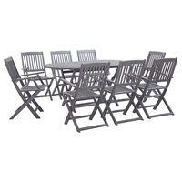 vidaXL Set mobilier de grădină, 9 piese, gri, lemn masiv de acacia