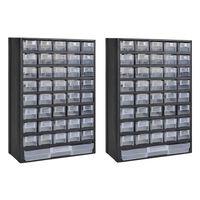 vidaXL Cutie de depozitare unelte cu 41 sertare, 2 buc, plastic