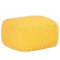 vidaXL Puf tricotat manual, galben muștar, 50x50x30 cm, bumbac