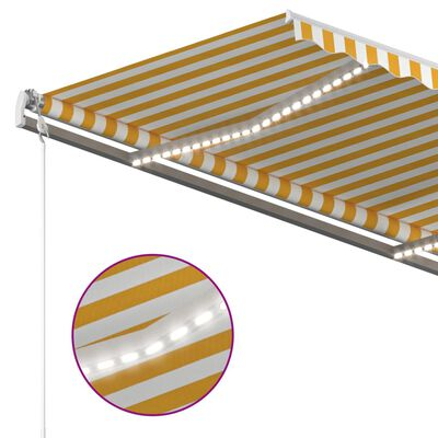 vidaXL Copertină retractabilă manual cu LED, galben & alb, 400x300 cm