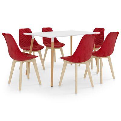 vidaXL Set de masă, 7 piese, roșu