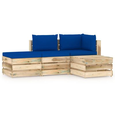 vidaXL Set mobilier grădină cu perne, 4 piese, lemn  verde tratat