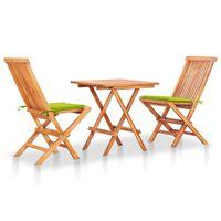 vidaXL Set bistro 3 piese cu perne verde aprins, lemn masiv tec
