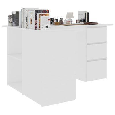 vidaXL Birou de colț, alb, 145 x 100 x 76 cm, PAL