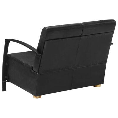 vidaXL Canapea cu 2 locuri, negru, piele naturală