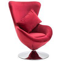 vidaXL Scaun ou rotativ, cu pernă, roșu, catifea