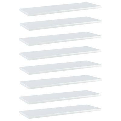 vidaXL Plăci bibliotecă, alb extralucios, 8 buc., 60x20x1,5 cm, PAL