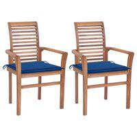 vidaXL Scaune de masă cu perne albastru regal, 2 buc., lemn masiv tec