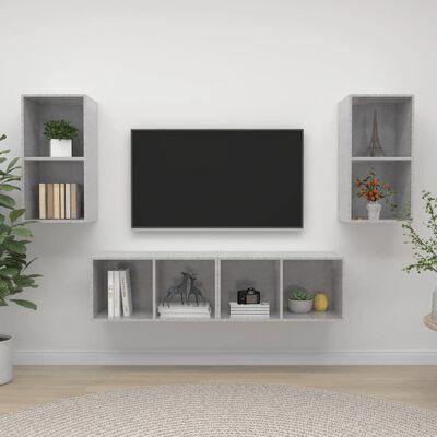 vidaXL Dulapuri TV montate pe perete, 4 buc., gri beton, PAL