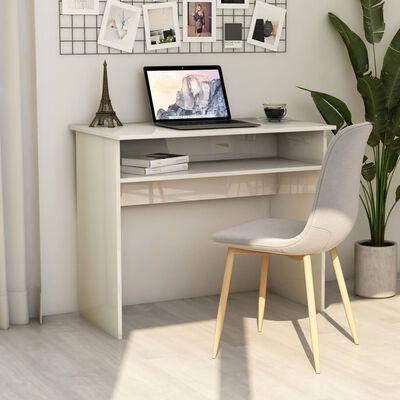 vidaXL Birou, alb extralucios, 90 x 50 x 74 cm, PAL