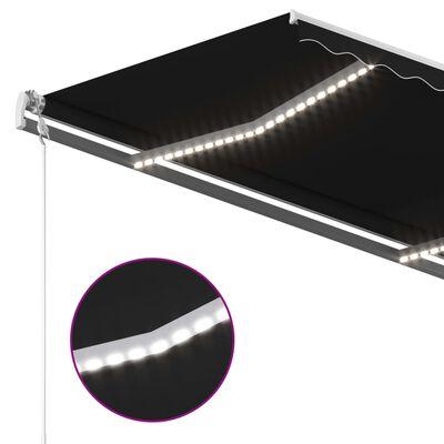 vidaXL Copertină retractabilă manual cu LED, antracit, 450x350 cm