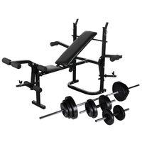 vidaXL Bancă fitness cu rastel greutăți, set haltere/gantere, 30,5 kg
