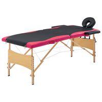 vidaXL Masă pliabilă de masaj, 2 zone, negru și roz, lemn
