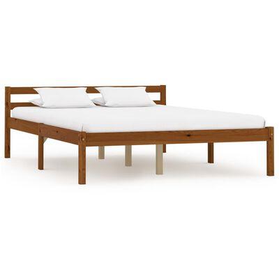 vidaXL Cadru de pat cu 2 sertare maro miere 140x200 cm lemn masiv pin