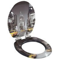 vidaXL Capac WC cu închidere silențioasă, MDF, design New York