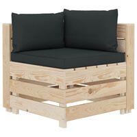 vidaXL Canapea de grădină din paleți, colțar, perne antracit, lemn