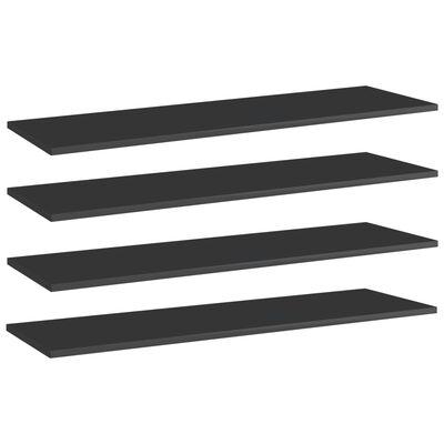 vidaXL Plăci bibliotecă 4 buc. negru extralucios 100 x 30 x 1,5 cm PAL