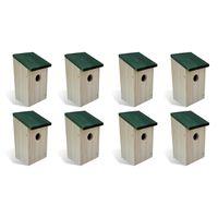 vidaXL Căsuțe de păsări, 8 buc., 12 x 12 x 22 cm, lemn