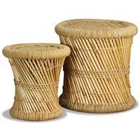 vidaXL Taburete, 2 buc., bambus și iută