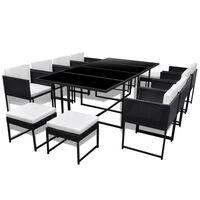 vidaXL Set mobilier de exterior cu perne, 13 piese, negru, poliratan