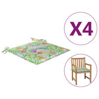 vidaXL Perne scaun grădină, 4 buc., model frunze, 50x50x4 cm, textil