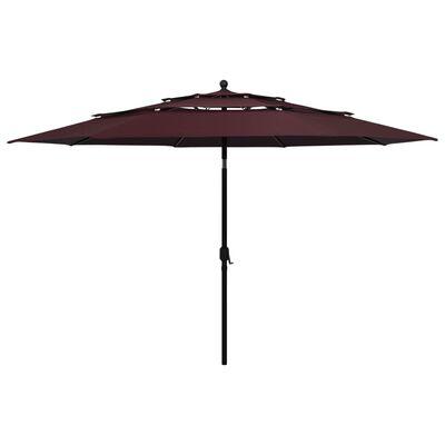 vidaXL Umbrelă de soare 3 niveluri, stâlp aluminiu, roșu bordo, 3,5 m