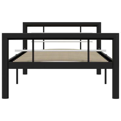 vidaXL Cadru de pat, negru și alb, 90 x 200 cm, metal