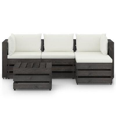 vidaXL Set mobilier grădină cu perne, 5 piese, gri, lemn impregnat