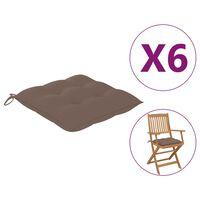 vidaXL Perne de scaun, 6 buc., gri taupe, 40 x 40 x 7 cm, textil