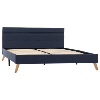 vidaXL Cadru de pat cu LED-uri, albastru, 120x200cm, material textil