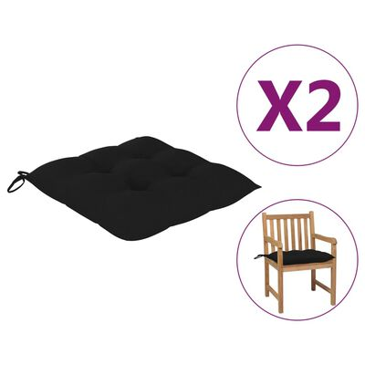 vidaXL Perne de scaun, 2 buc., negru, 50x50x7 cm, textil