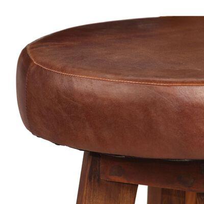 vidaXL Set mobilier bar, 3 piese, lemn masiv sheesham, piele naturală