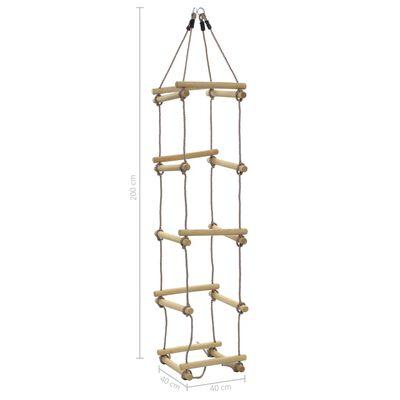 vidaXL Scară din frânghie pentru copii, 200 cm, lemn