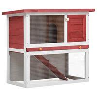 vidaXL Cușcă de iepuri pentru exterior, 1 ușă, roșu, lemn