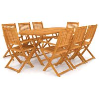 vidaXL Set mobilier de exterior pliabil, 9 piese, lemn masiv de acacia