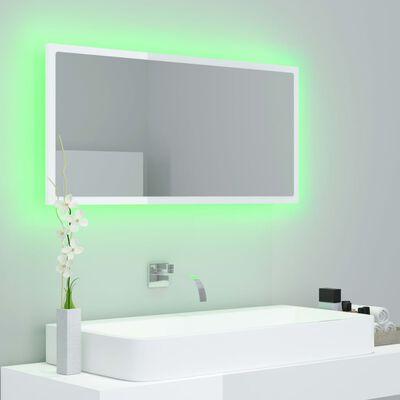 vidaXL Oglindă de baie cu LED, alb extralucios, 90x8,5x37 cm, PAL