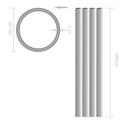 vidaXL Tuburi din aluminiu, 4 buc., 1 m, Ø35 x 2 mm, rotund