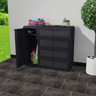 vidaXL Dulap de depozitare pentru grădină, cu 2 rafturi, negru
